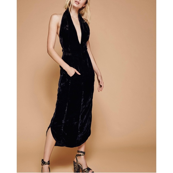 47497484a429 Free People Black Crushed Velvet Semi Formal Dress